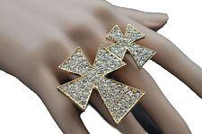 Women Gold Ring Fashion Metal Double Finger Cross Elastic Band Silver Rhinestone