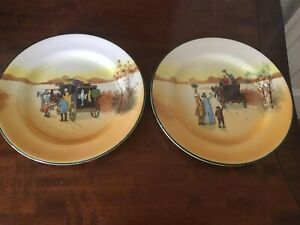 2 ROYAL DOULTON SERIES WARE CARRIAGE SCENES SMALL SIDE PLATES