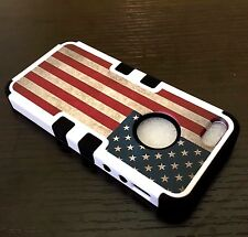 For iPhone SE 5S HARD & SOFT RUBBER HYBRID IMPACT ARMOR CASE USA AMERICAN FLAG