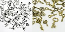 200 Mixed Lot KEY CHARMS  Sizes 15-30mm 100 each Antique Silver + Antique Brass
