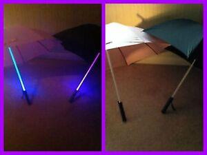 Light Sabrer Umbrella LED - Classic Black/Girlie Pink with Multi Changing Light