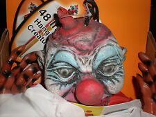 NIB 48 INCH HANGING  SCARY EVIL CLOWN  RUBBER FACE & HANDS RED/ WHITE OUTFIT
