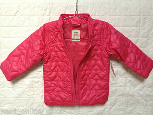 BNWT Old Navy Baby Girls Quilted Puffer Jacket / Coat Pink 12-18m 18-24 m Puffa