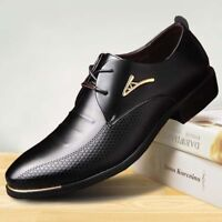 Men Leather Formal Shoes Oxford Business Wedding Flats Casual Lace Up Party Wear