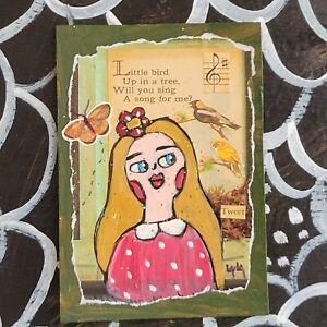 ORIGINAL ACEO Folk Art Girl Woman Bird Bug Butterfly Insect Song Music Flower