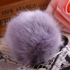 gray color Faux Rabbit Fur Pompom Ball Elastic Hair accessories size 6cm