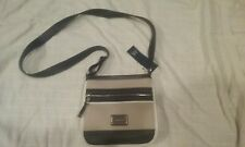 Color block striped Crossover handbag- taupe and black