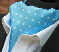 0010dda445f7 Silk Cravat Ascot.Quality Hand Made in UK. Powder Blue with White DBC02-