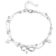 2 X Infini Bracelet de Cheville Plaque Argent Plage Pied Bijouterie Perle Chaîne