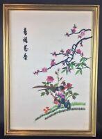 Bel encadrement tableau ancien vintage 1960 en soie Chinoise fait main signé
