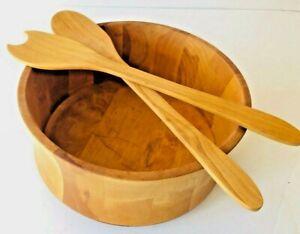 WILLIAMS SONOMA John McLeod Wooden Centerpiece Salad Bowl with Tongs- Ret $190