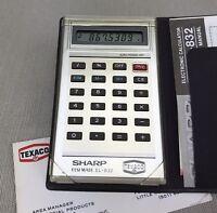 Texaco Engraved Sharp ElsiMate EL-832 Vintage Pocket Calculator & instructions