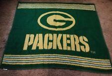 vtg Biederlack Blanket Green Bay Packers Yellow NFL Throw