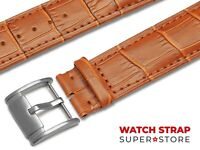 Light Brown Fits FOSSIL Watch Strap Band Genuine Leather 18-24mm For Buckle