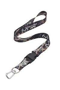 Realtree APC Black Camo Neck Lanyard With Detachable Key Ring & Carabiner