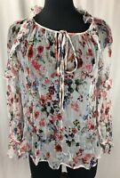 Anthropologie HD in Paris Silk Floral Short Sleeve Top Sz Small Womens Blouse