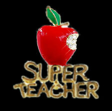 Jewelry Super Teacher Letter Bite Red Fruit Crystal Wedding Brooch Pin Gift Chic