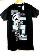 Ecko Unltd Mens M Black Graphic T-Shirt Blue White Logo Print Tee Size Medium