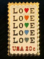 Vintage Collectible Love Stamp 20 Cent USA Metal Colorful Pinback Lapel Pin