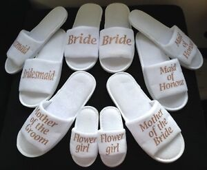 ROSE GOLD Hen Bride Spa Slippers wedding Bridesmaid personalised gift all sizes