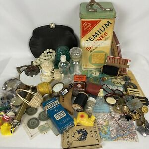 Vintage Junk Drawer lot Perfume bottles Miscellaneous As Is