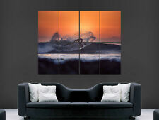 SURFING SUNSET WAVES  SURF  ART WALL LARGE IMAGE GIANT POSTER !!
