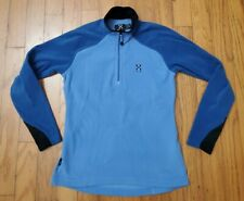 RARE Haglofs Womens Medium EU 40 Blue 1/4 Zip Softshell Polartec Fleece Jacket