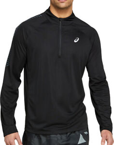 Asics Icon Half Zip Long Sleeve Mens Running Top - Black