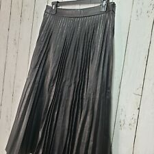 NWT Lulu's Black Long Pleated Faux Vegan Leather Skirt Size Medium Side Zip