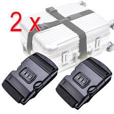 2x Koffergurt mit Zahlenschloss Gepäckriemen Schloss Reisen Schwarz Gepäckband