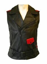 Mr Lenoir Designer Sleeveless Heavy Soft Real Leather Biker Jacket Djibril Cissé