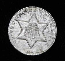 1861 Civil War Era Three Cent Silver AU US Coin