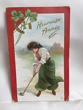 Woman Golfer 1911-1912 New Year Post Card w/Horseshoe & Clover ~ Tuck Series 140
