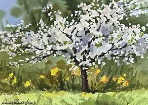 "Original painting  'Spring blossom "" Ready for a 10 x 8inch frame"