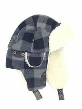 $75 WOOLRICH MEN BLACK WHITE FAUX FUR AVIATOR HAT WARM WINTER TRAPPER HAT SIZE M