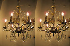 Pair Of Vnt French 6 arms Bronze and Crystal Chandelier Lamp light 1930s