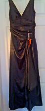 NEW 8-12 Black Metallic Shine Satin Maxi Empire Wrap Dress Diamante Buckle, Sash