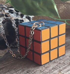 Mini Rubiks Cube Inspired MOVABLE Pendant Necklace 80s 3d Puzzle Rubics  Rubix