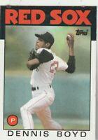 FREE SHIPPING-MINT-1986 (RED SOX) Topps #605 Dennis Boyd PLUS BONUS CARDS