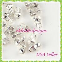 100pcs Silver Plated Clamshell End Bead Caps Tips 8x6mm Crimps Jewelry Findings