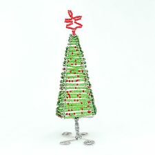 Green African Handmade Maasai Bead Wire Decor Christmas Tree
