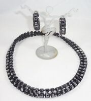 ST JOHN Rhinestone Black Rhinestone Choker Necklace & Earrings