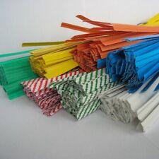 """100pcs Plastic/Paper Coated 4""""/7"""" X 1/4"""" Twist Ties-Won't Rip or Pull Off"""