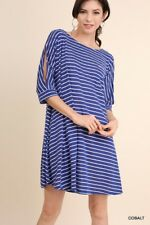 Umgee striped Short Sleeve cold shoulder T Shirt dress tunic Plus S M L XL 1X 2X