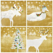 4x Paper Napkins -Winter Farm Gold- for Party, Decoupage MIX