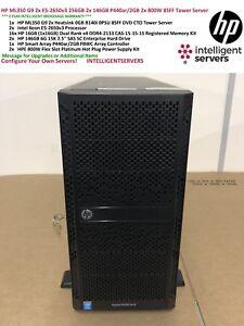HP ML350 Gen9 2x E5-2650v3 256GB 2x 146GB P440ar/2GB 2x 800W 8SFF Tower Server