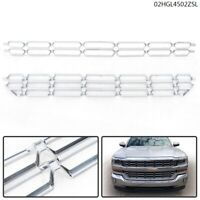 New 2pcs Chrome Grille Overlay Snap On Insert For 16 17 18 Chevy Silverado 1500