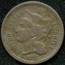 1872 (VF) 3C THREE CENT NICKEL PIECE