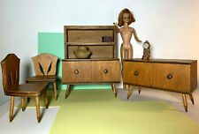 VTG DOLL MINIATURE SALESMAN SAMPLE MCM FURNITURE SET CHAIRS CUPBOARD DOLLHOUSE