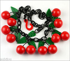 FRENCH DESIGNER RED DANGLING CHERRY FRUIT CLUSTER BIB NECKLACE RESIN PARIS